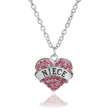 2016 Women Crystal Rhinestone Necklaces Pink Shape Heart Pendant Necklace Long Sweater Chain Jewelry Accessory Best Friend Gift