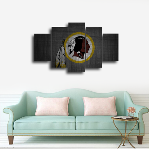 HD Printed Washington Redskins Logo 5 Pieces Canvas
