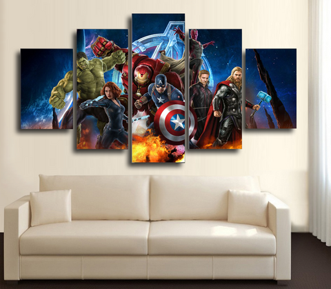 HD Printed Avengers Full Team 5 Piece Canvas