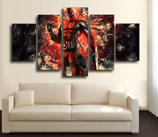 HD Printed DeadPool 3 5 Piece Canvas