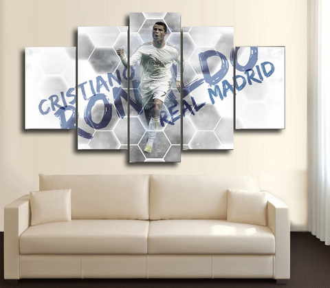 HD Printed Cristiano Ronaldo Real Madrid 5 Piece Canvas