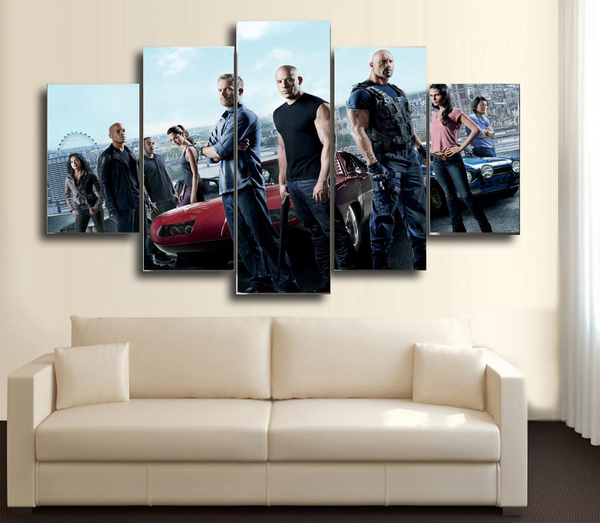HD Printed Fast Furious 5 5 Piece Canvas