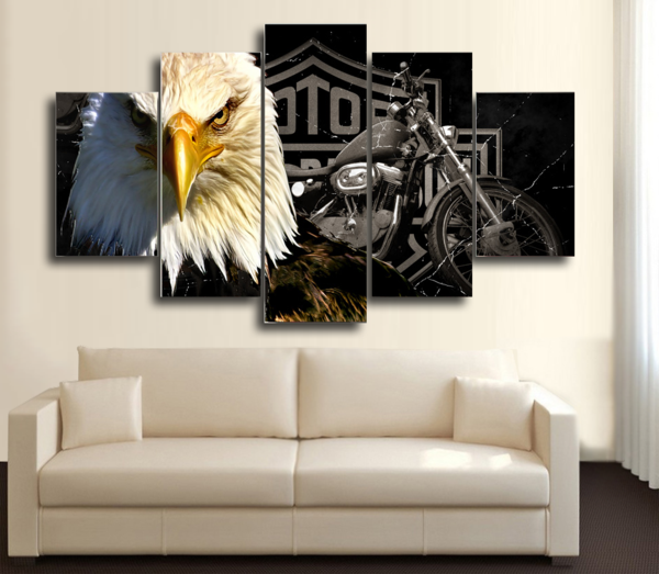 HD Printed Eagle Harley Davidson Motorcycle 5 Piece Canvas
