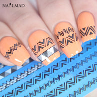1 sheet Black Chevron Nail Water Decals DS167