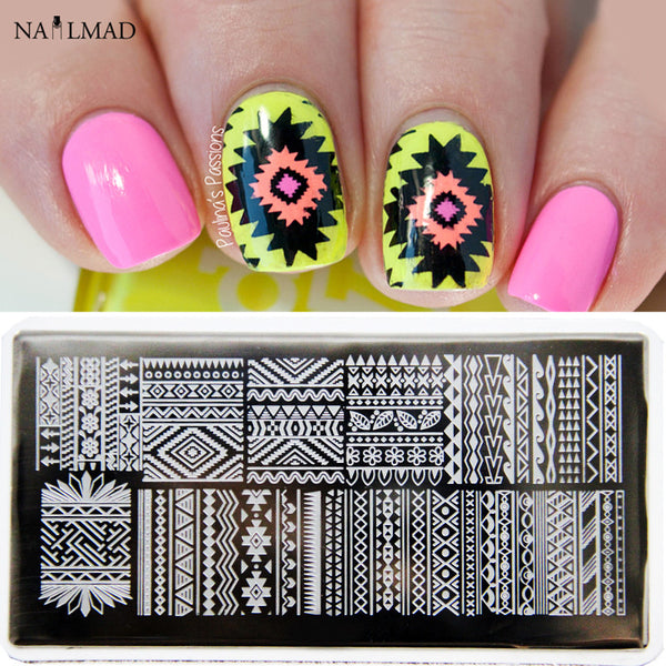 1pc Aztec Nail Art Stamp Plate Tribal Design