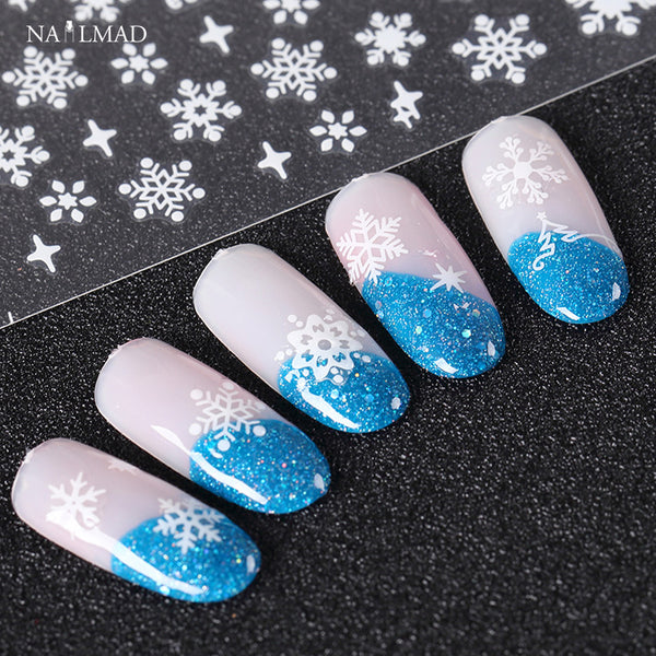 12patterns/sheet Xmas Sowflake Nail Stickers Christmas Nail Stickers Decals