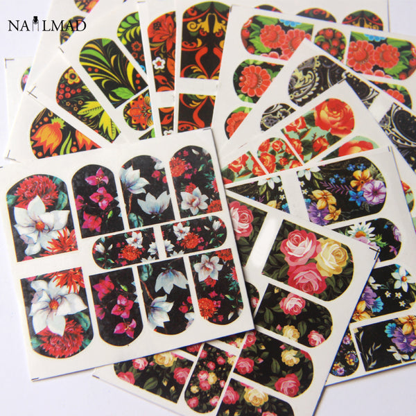 12sheets/pack Flower Nail Water Decals Mandala Pattern