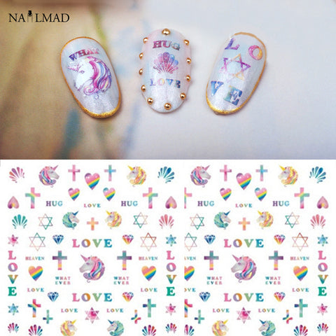 1 sheet Unicorn Nail Art Water Decals