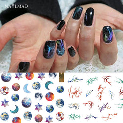 1 sheet Galaxy Nail Art Stickers Nebula Marble Adhesive Sticker