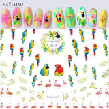 Tropical Bird Nail Art Stickers Flamingo & Parrot Adhesive Nail Decals