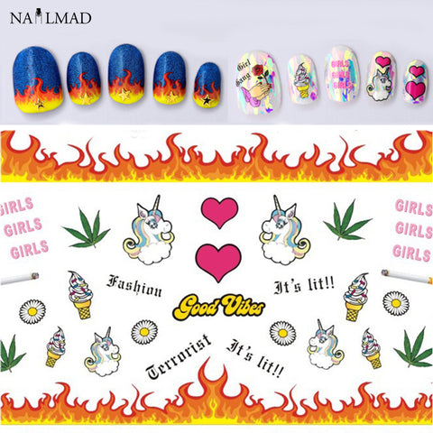 Unicorn 3D Nail Art Stickers Icecream