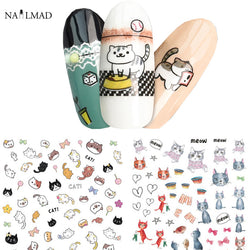 1 sheet Cat 3D Nail Art Stickers Kitten Adhesive Sticker Decals