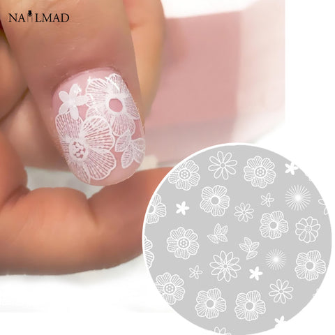 1 sheet Flower Lace Nail Sticker Daisy Adhesive Sticker Decals