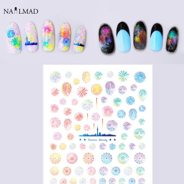 1 sheet Fireworks Nail Water Decals