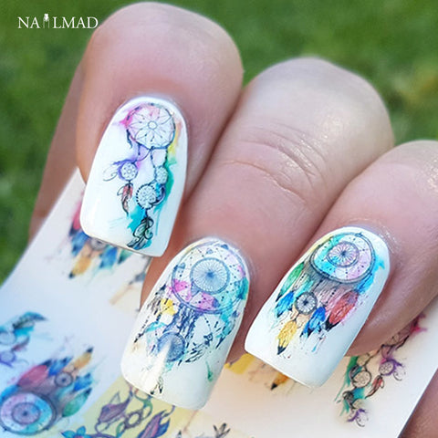 12sheets Dreamcatcher Nail Art Water Decals Feather Transfers Decals