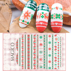 1 sheet Christmas Nail Stickers Xmas Deer Nail Adhesive Sticker