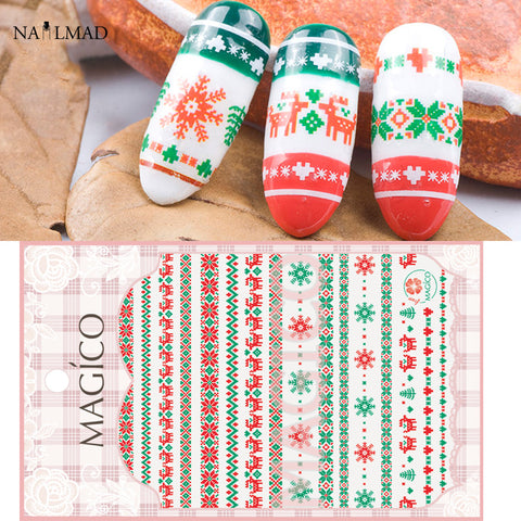 1 Sheet Nailmad Christmas 3d Nail Art Stickers Deer Nail Sticker