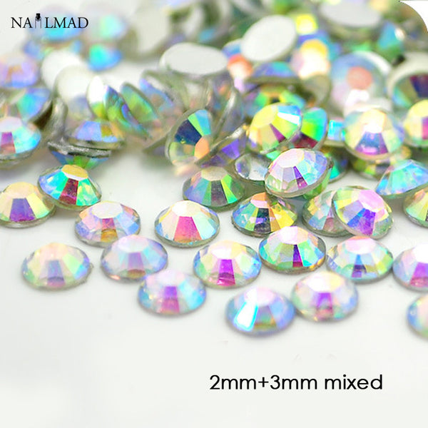 1000pcs 2mm 3mm mixed Clear AB Resin Rhinestones