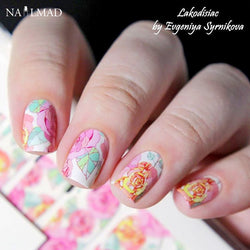 14pcs/Sheet Floral Nail Wraps Rose Nail Full Stickers