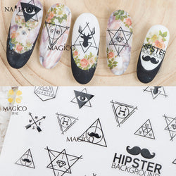 1 sheet Hipster Beard Nail Stickers Deer Adhesive Sticker