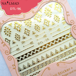 1 sheet Aztec Nail Stickers Gold Tribal Adhesive Sticker
