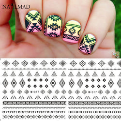 1 sheet Black Aztec Nail Water Decals #M017