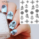 Black Compass Anchor Nail Water Decals