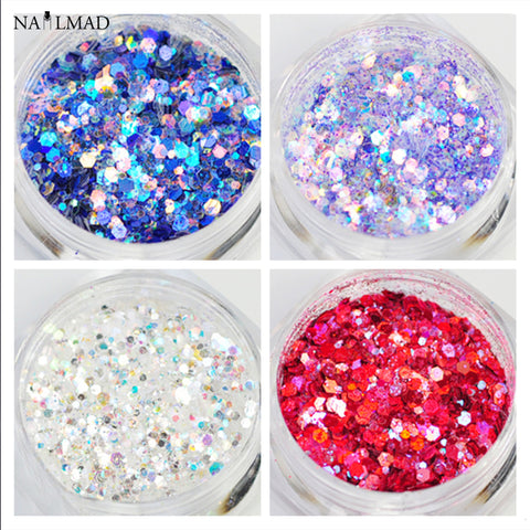Dazzling Nail Glitters Sequin Mixed- Hexagon