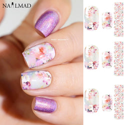 14pcs/Sheet Floral Nail Wraps Fancy Flowers Nail Full Stickers