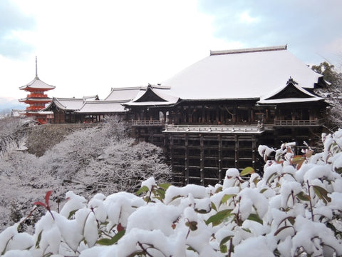 Kyoto in winter, snowing
