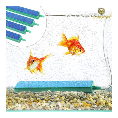 Air Stone Bars (4 pc) - Produces Bubbles, Aeration, Oxygen & Water Movement - Easy to Connect Bubble Bars - 100% Safe Non Toxic Mineral for Pets - for Optimal Health of Guppies, Shrimp & Mollies
