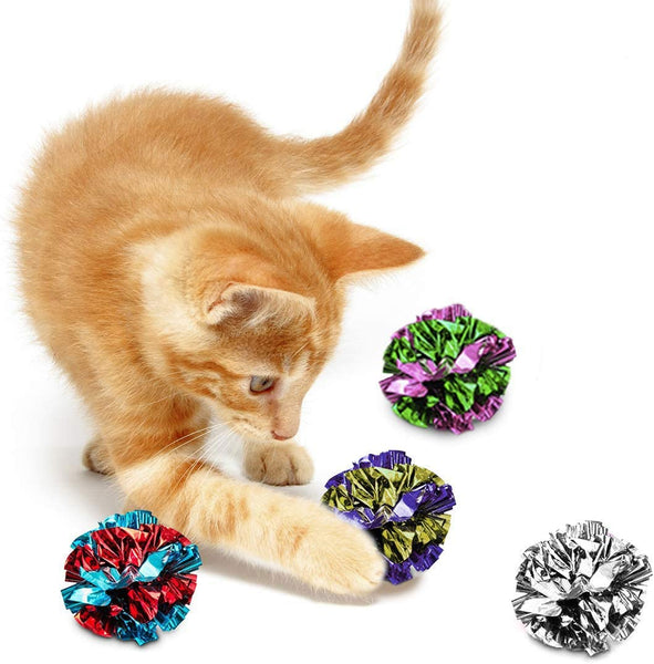 SunGrow Mylar Crinkle Balls for Cats, 1.5-2 Inches, Shiny and Stress Buster Toy, Lightweight and Suitable for Multiple Cats' Play, Ideal for Kittens and Adult Cats, 12-Pcs, 30 packs