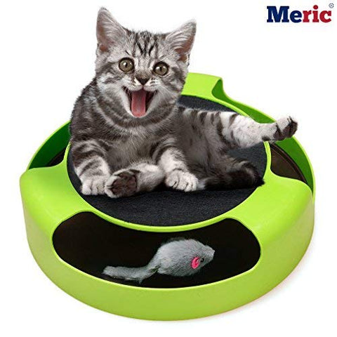 Mouse Chaser Cat toy --- Roller Mouse eliminates boredom - Increases agility - Stimulates Cat's Hunting Instincts - Indoor Exercise for old cats - Non-slippery pet-safe base - No batteries required