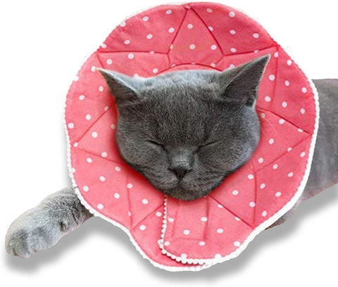SunGrow Cat Recovery Cone, Soft Comfortable Neck Pillow, for Speedy Neuter or After Surgery, No More Cone of Shame, Polka Dot Design, Pink Color, Fits All Pets with 9-10.5 Neck Circumference, M Size, 30 pcs