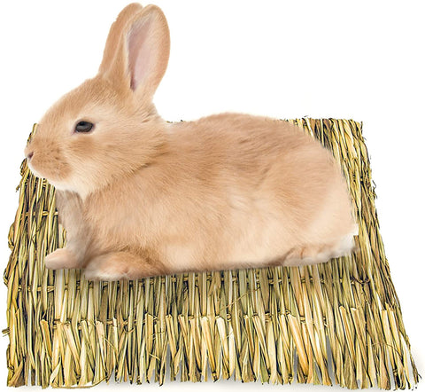Meric Seagrass Rabbit Mat, Protect Paws from Wire Cage, Relieve Sore Hocks, Handmade Woven Play Bed, Edible Chew Toy, Keep in Cage or on Floor, 1 pc