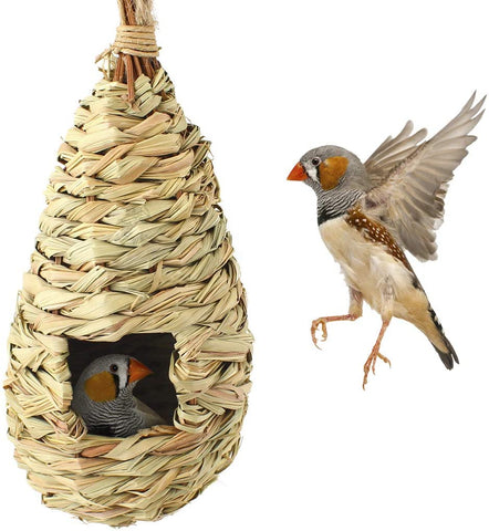 SunGrow Grass Bird Hut, Cozy Resting Place for Birds, Provides Shelter from Cold Weather, Bird Hideaway from Predators, Hand-Woven Teardrop Shaped, Fiber Made, Ideal for Finch & Canary, 30 pcs