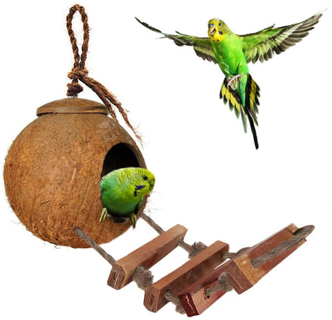 SunGrow Bird House with Ladder, Nesting Home and Bird Feeder, Mini Condo for Avians, Coco Texture Encourage Foot and Beak Exercise, 100% Raw Coconut Husk - Durable Habitat with Hanging Loop, 30 pcs