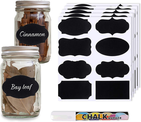SYNRA Chalk Label, 8 Stylish Removable and Reusable Waterproof Stickers for Jars, Bottles and Food Containers, Creates an Organized Home and Kitchen, Includes Writing Pen, 12 Pages,96 Pcs per Pack