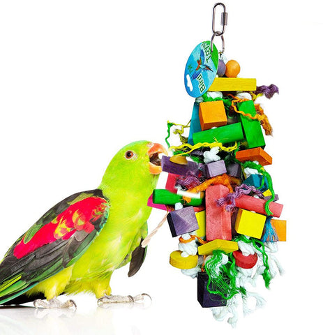 SunGrow Chewing Toy for Parrot, Cockatiel, Macaw, Conure, Parakeet, 15.7 Inches Tall by 4 Inches Wide, Edible Chew, Nibbling Keeps Beaks Trimmed, Multicolored Wooden Blocks, 30 pcs