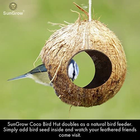 SunGrow Coco Bird Hut, 4.4 Inches Hut with 3 Openings, Raw Coconut Husk, Perfect for Hiding Millet and Nesting Material, Birdhouse Makes for Mini Condo, Home Decor, 30 pcs