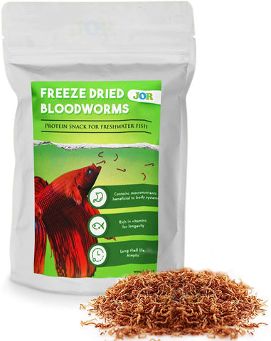 JOR Bloodworm for Betta, Freeze-Dried Treats for Siamese Fighting Fish and Other Aquatic Pets, Perfect for Picky Eaters and Breeding Tanks, 0.52 oz per Pack