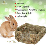 SunGrow Portable Grass Bed - Hand-Made with Natural Grass: Provides Paws Protection & Relaxation : Lightweight, Durable, Safe & Comfortable for Rabbits, Chinchillas, Guinea Pigs & Other Small Animals, 30 pcs