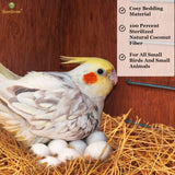 SunGrow Coconut Fiber, Comfortable Bedding for Small Birds and Animals, Nest Material, Great for Nest Building and Hideouts, 30 pcs