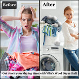 Vila Wool Dryer Balls, 2.75 Inches, New Zealand Wool Reduce Wrinkles and Static Cling, Soften Laundry, Lint Remover, Reusable Felt Balls, Speeds Drying, Saves Money on Energy Bills, 6 Pieces