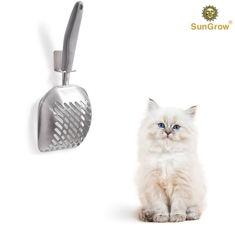 SunGrow Non-Stick Cat Litter Sifter Scoop, Manages Big Clumps of Multi-cat Families, No Wrist Pain or Hand Fatigue, Industrial-Grade Aluminum Alloy, Family Heirloom 50 Units