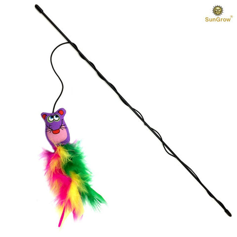Feather Wand with Stuffed Mouse Toy -- Chew toy