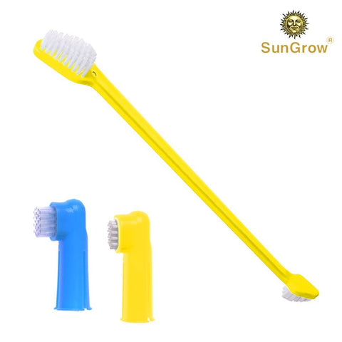 3 Pcs Dog Toothbrush Set - Dual-headed brush for better dental care