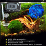 LCD Digital Betta Thermometer - Comes with 2 Suction Cups and Battery