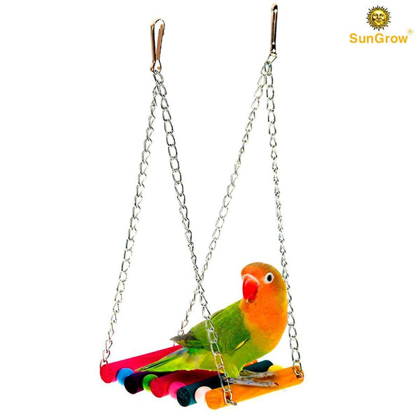 SunGrow Bird Cage Hammock Swing, 11.82-inches by 5.12-inches by 3.94-inches, Pet Hanging Toy, Perfect for Parakeet, Finch, Canary or Small Parrot, Fits Big Cage Perfectly