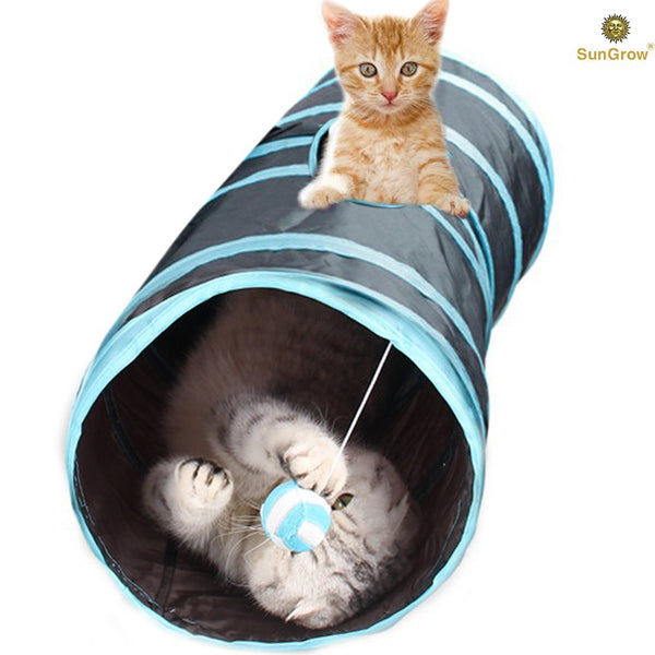 SunGrow Collapsible Cat Tunnel, Interactive Toy with Peep Hole and Crinkle Ball for Hiding and Resting, Ideal for Multi-cat and Independent Playing